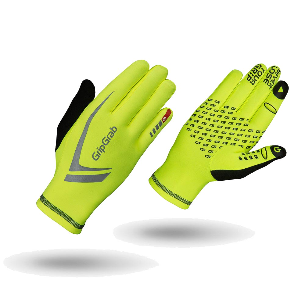 A pair of yellow running gloves
